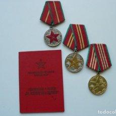 Militaria: URSS TRES MEDALLAS (COMPLETO) POR EXCELENTE SERVICIO MILITAR CON DOCUMENTO. Lote 247624320
