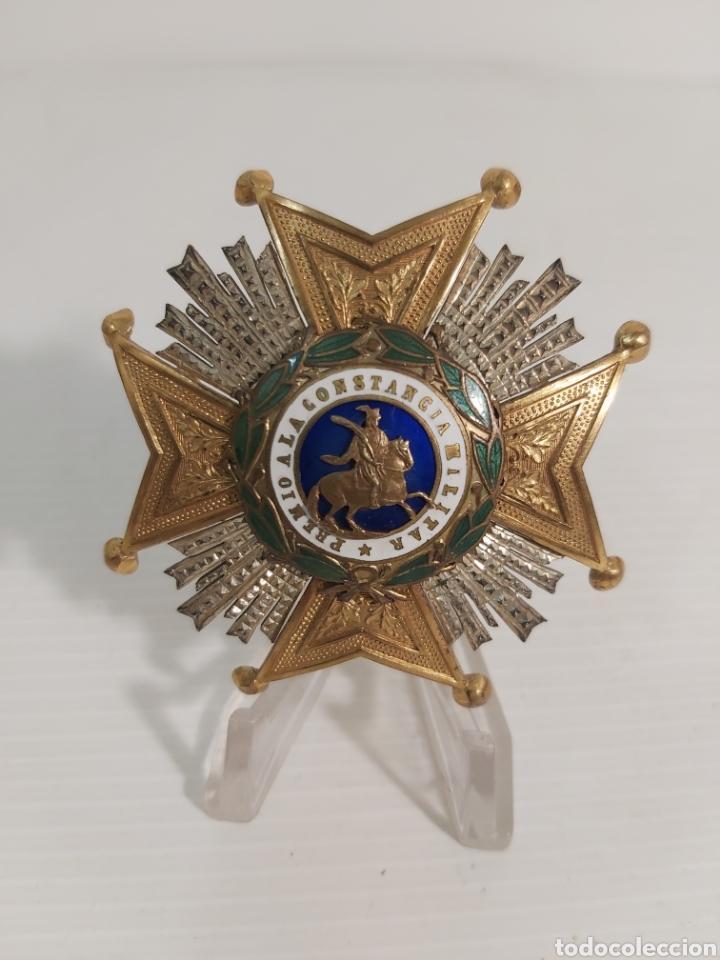PLACA SAN HERMENEGILDO CON CUARTELES DE LA EPOCA ALFONSINA (Militar - Medallas Españolas Originales )