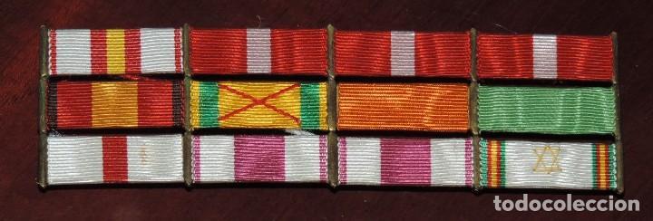 PASADOR DE 12 CINTAS DE LA GUERRA CIVIL Y CAMPAÑA DEL RIF, MIDE 13,3 X 4 CMS. SON LAS SIGUIENTES: (Militar - Cintas de Medallas y Pasadores)