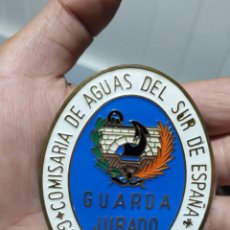 Militaria: ANTIGUA PLACA MEDALLA GUARDA JURADO - COMISARIA DE AGUAS DEL SUR DE ESPAÑA - GUARDERIA FLUVIAL. Lote 261113320