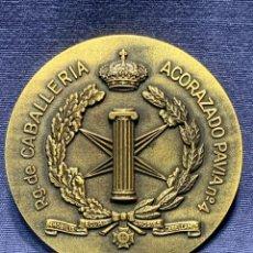 Militaria: MEDALLA BRONCE REGIMIENTO RG DE CABALLERIA ACORAZADO PAVIA Nº4 ARANJUEZ 8CMS. Lote 262443735