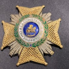 Militaria: PLACA GRAN CRUZ PREMIO CONSTANCIA MILITAR ORDEN SAN HERMENEGILDO PLATA DORADA FRANCO DIAM 6,5CMS. Lote 263582030