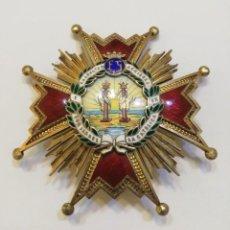 Militaria: PLACA DE LA ORDEN DE ISABEL LA CATOLICA, COMENDADOR, MODELO FRANCO, EN PLATA DORADA Y ESMALTES. Lote 264458724