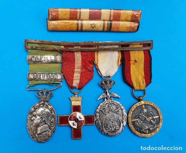 PASADOR CON MEDALLAS MILITARES ORIGINALES + PASADOR DE DIARIO CON 6 CONDECORACIONES (Militar - Medallas Españolas Originales )