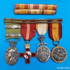 Militaria: PASADOR CON MEDALLAS MILITARES ORIGINALES + PASADOR DE DIARIO CON 6 CONDECORACIONES. Lote 267059949