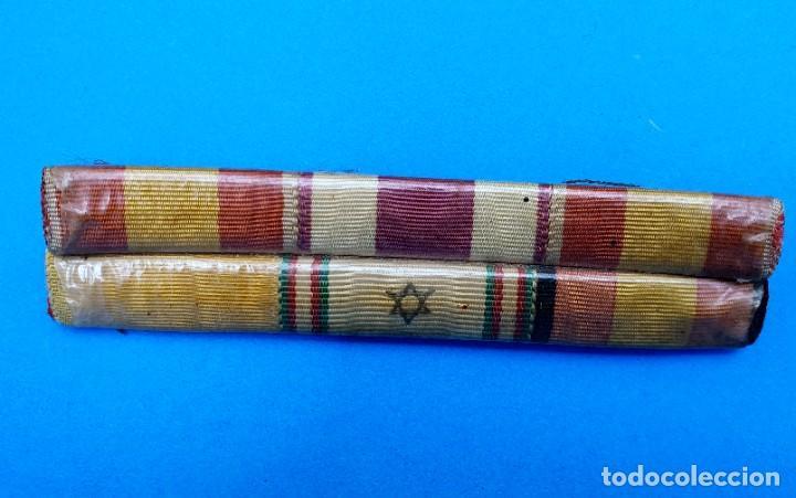 Militaria: Pasador Con Medallas Militares Originales + Pasador de diario con 6 condecoraciones - Foto 3 - 267059949