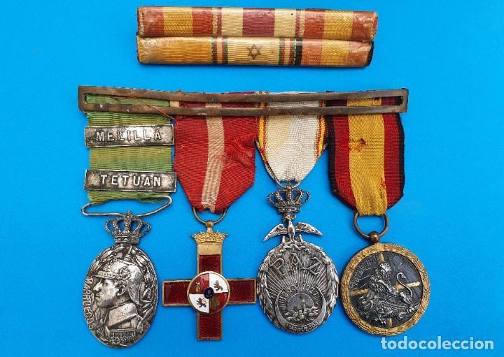 Militaria: Pasador Con Medallas Militares Originales + Pasador de diario con 6 condecoraciones - Foto 7 - 267059949