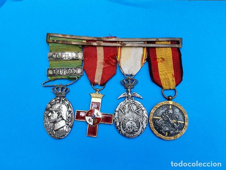 Militaria: Pasador Con Medallas Militares Originales + Pasador de diario con 6 condecoraciones - Foto 9 - 267059949