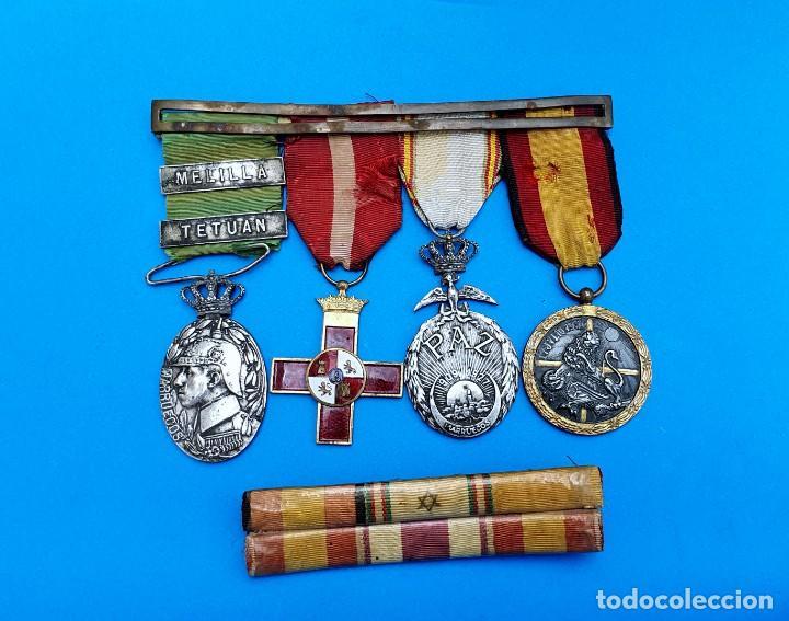 Militaria: Pasador Con Medallas Militares Originales + Pasador de diario con 6 condecoraciones - Foto 10 - 267059949