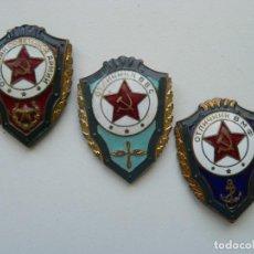 Militaria: URSS LOTE DE TRES DISTINTIVOS DE EJERCITO SOVIÉTICO (TIERRA, AIRE, MAR). BRONCE, ESMALTE AL FUEGO.. Lote 267115574