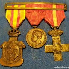 Militaria: PASADOR DE MEDALLAS: MÉRITO MILITAR, PROCLAMACIÓN ALFONSO XIII Y HOMENAJE DE LOS AYUNTAMIENTOS. Lote 268757294