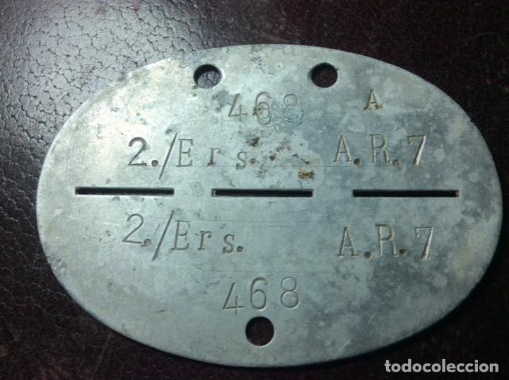 ORIGINAL PLACA DE IDENTIFICACIÓN ALEMANA PERÍODO IIG.M. ( VER DETALLES ) (Militar - Medallas Internacionales Originales)