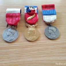 Militaria: LOTE DE 3 MEDALLAS AL TRABAJO. FRANCIA. ORIGINALES. VER FOTOS.. Lote 269025369