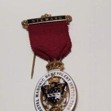 Militaria: MEDALLA MASONICA INGLESA PLATA MACIZA.FUNDACION STEWARD PARA CHICOS DE 1920.EXTRAORDINARIO ESTADO. Lote 288561853