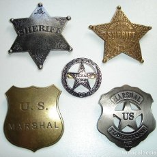 Militaria: LOTE DE 5 BROCHES ESTRELLAS MARSHAL US RANGER SHERIFF DENIX MADE IN SPAIN. Lote 296617563