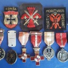 Militaria: (MI-21107)LOTE DE MEDALLAS Y PARCHES DE UN FALANGISTA DE LA CENTURIA ROJA VOLUNTARIO DIVISION AZUL. Lote 296956198