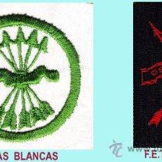 Militaria: PAR DE PARCHES BORDADOS DE FALANGE GUERRA CIVIL- AGUILA BLANCA Y F.E.T. - J.O.N.S.. Lote 34098602