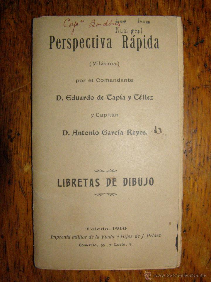 CUADERNO DE PERSPECTIVA RÁPIDA - LIBRETAS DE DIBUJO ( MILÉSIMA) TOLEDO 1910 - (Militar - Parches de tela )