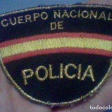 Militaria: POLICIA NACIONAL CUERPO PARCHE TELA BORDADO DORADO USADO . Lote 153368730