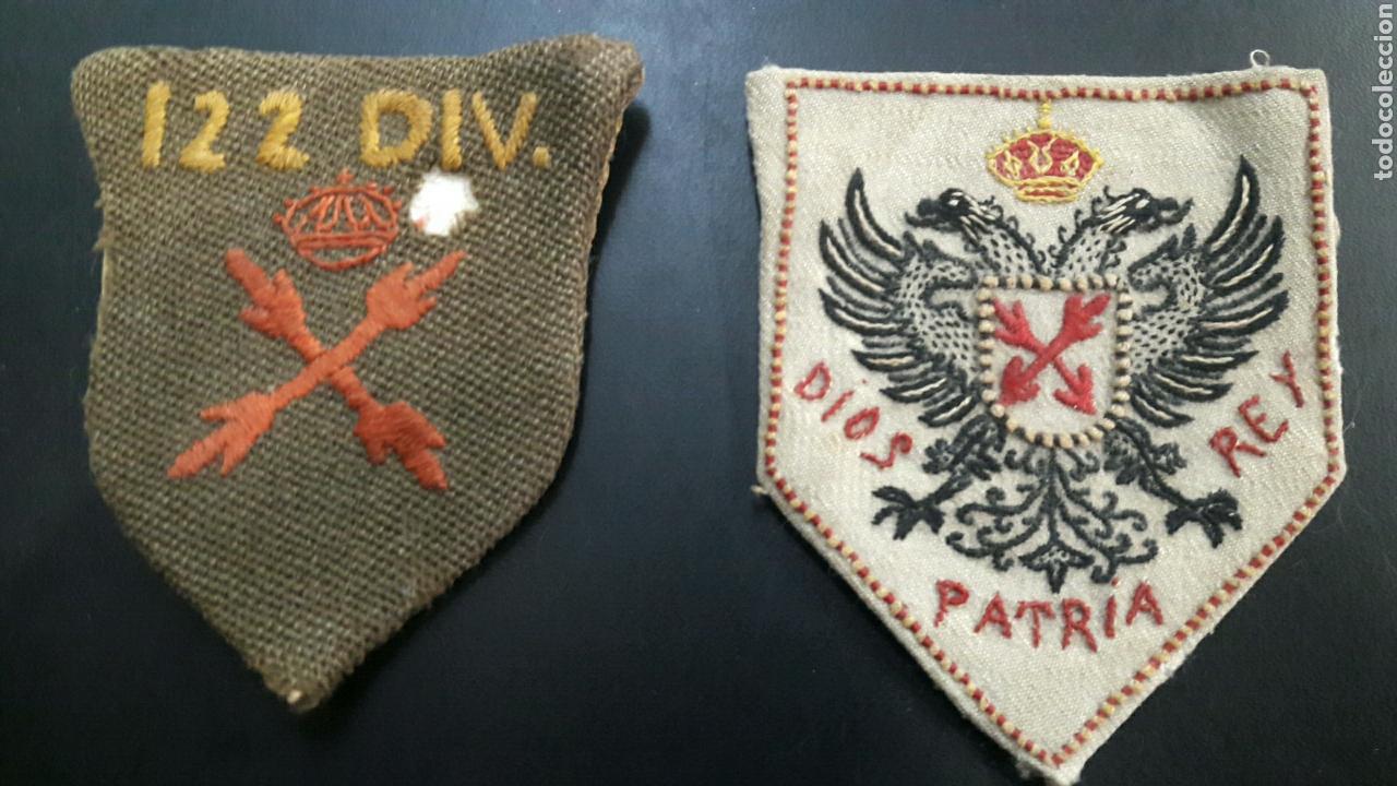 LOTE 2 PARCHES REQUETES CARLISTAS TERCIO SAN RAFAEL 122 DIVISIÓN GUERRA CIVIL (Militar - Parches de tela )