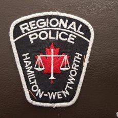 Militaria: PARCHE DE POLICIA REGIONAL POLICE HAMILTON WENTWORTH EN EXCELENTE ESTADO. Lote 182064896