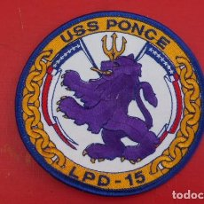 Militaria: EMBLEMA BORDADO, BUQUE DE APOYO ANFIBIO USS PONCE...RARO. MARINA NORTEAMERICANA... Lote 190752765