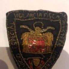 Militaria: UNICO PARCHE BORDADO POLICIA ADUANERA, SERVICIO FISCAL, EPOCA FRANCO, AÑOS 40. Lote 194742142