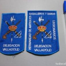 Militaria: LOTE DE 2 PARCHES DE LA LEGION DELEGACION DE VALLADOLID DE TELA Y BORDADOS. Lote 195075322
