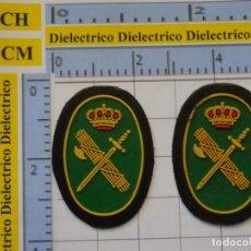 Militaria: 2 PEQUEÑOS PARCHES OVALADOS CON EL ESCUDO DE LA GUARDIA CIVIL ESPAÑOLA. Lote 221656033