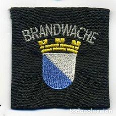 Militaria: PARCHE BOMBERO HOLANDA - BRANDWACHE - BORDADO SOBRE TROZO DE TELA. Lote 215958490