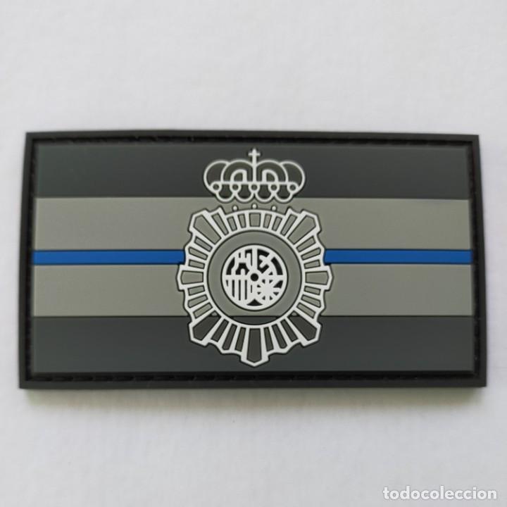 PARCHE POLICÍA NACIONAL, BANDERA BLUE LINE 9X 5 CMS. PVC 2D CON VELCRO (Militar - Parches de tela )