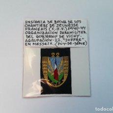 Militaria: FRANCIA: PARCHE DE BOINA DE CHANTIERS DE JEUNESSE FRANÇAIS (CJF) ORGANIZACIÓN DEL GOBIERNO DE VICHY.. Lote 225599490