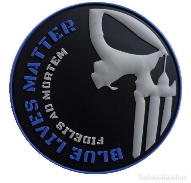 PARCHE POLICÍA BLUE LIVES MATTER (PUNISHER) PVC 3D CON VELCRO (Militar - Parches de tela )