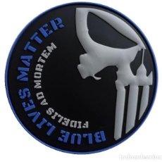 Militaria: PARCHE POLICÍA BLUE LIVES MATTER (PUNISHER) PVC 3D CON VELCRO. Lote 251811680