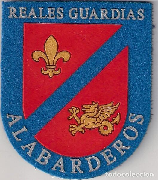 PARCHE EMBLEMA ESCUDO GUARDIA REAL EPOCA ACTUAL REALES GUARDIAS ALABARDEROS CON VELCRO (Militar - Parches de tela )