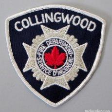 Militaria: PARCHE BOMBERO CANADA - COLLINGWOOD SERVICE D'INCENDIE - ONTARIO. Lote 294964923