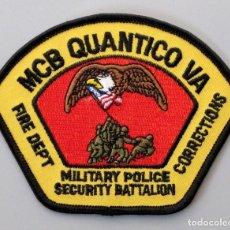 Militaria: PARCHE BOMBERO MILITAR USA - MARINE CORPS BASE QUANTICO - VIRGINIA. Lote 295372823