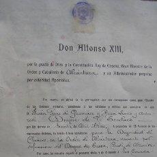 Militaria: DOCUMENTO DE CONCESIÓN DE LA ORDEN DE ALCÁNTARA. FECHADA EN LA ÉPOCA DE ALFONSO XIII. RJUL06.103. Lote 3137536