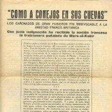 Militaria: UXW COMO A CONEJOS EN SUS CUEVAS PANFLETO ORIGINAL ALEMAN 1940 - RARO - II GUERRA MUNDIAL NAZISMO. Lote 23779292