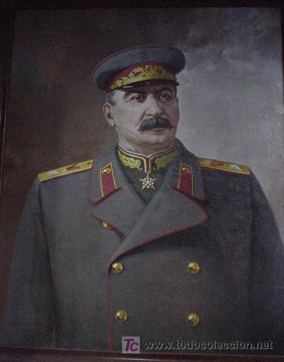 UNIÓN SOVIÉTICA. URSS. RETRATO AL ÓLEO DE STALIN. 1945. AUTOR CZESLAW ZNAMIEROWSKI. 142X118 CM. (Militar - Propaganda y Documentos)