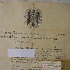 Militaria: NOTIFICACION DE ASCENSO. NOTIFICATION OF ASCENT. . Lote 26855844