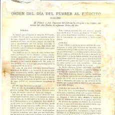 Militaria: ORDEN DEL DÍA AL EJÉRCITO YPROCLAMA DEL FÜHRER, 1941 . Lote 27484451