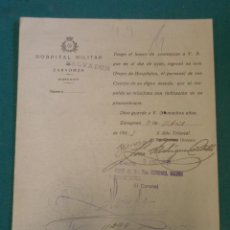Militaria: DOCUMENTO TAMAÑO CUARTILLA, HOSPITAL MILITAR DE SALVADOR, ZARAGOZA, CON MEMBRETE REPUBLICANO. Lote 9305808