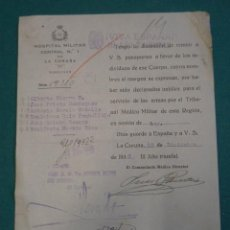 Militaria: DOCUMENTO TAMAÑO CUARTILLA HOSPITAL MILITAR CENTRAL DE A CORUÑA, CON MEMBRETE REPUBLICANO. Lote 9363130