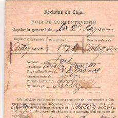 Militaria: RECLUTAS EN CAJA. HOJA DE CONCENTRACION. MALAGA. 1926.. Lote 12623210
