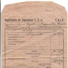 Militaria: REGIMIENTO DE ZAPADORES. SOBRE DE LA LIQUIDACION DE UN BRIGADA DEL AÑO 1951. SEVILLA.. Lote 10900649