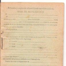 Militaria: PRIMERA Y SEGUNDA SITUACION DE SERVICIO ACTIVO. HOJA DE MOVILIZACION. AÑO 1939. Lote 25361393