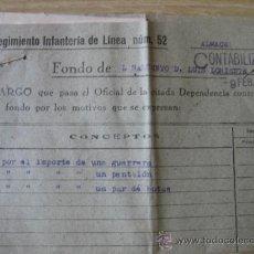 Militaria: DOCUMENTO. DEL REGIMIENTO DE INFANTERIA DE LINEA Nº 52. Lote 25730579
