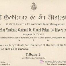 Militaria: MILITAR 2 INVITACIONES REALES CORRELATIVAS PARA LOS FUNERALES DE MIGUEL PRIMO DE RIVERA. 1930. Lote 26634711