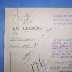 Militaria - raro documento 1931 -- LA LEGION -- ceuta - 27091567